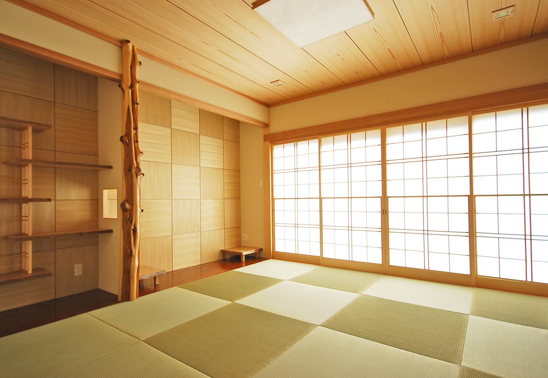 一級建築士事務所GO_AN (ゴアン)|畳・壁・障子を格子状のデザインでまとめた、落ち着いた和室