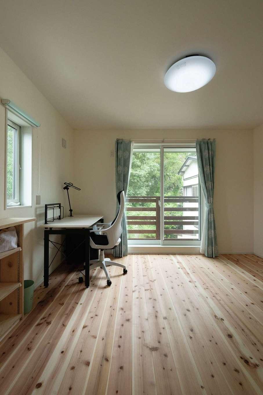 片川工務店【自然素材、狭小住宅、間取り】日当たりと眺めが良いスペースは子ども部屋に