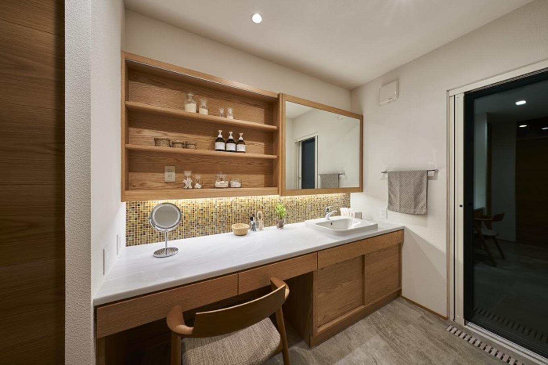 KESHIKI YAMANASHI【デザイン住宅、夫婦で暮らす、平屋】2人が同時に使える広々とした洗面台