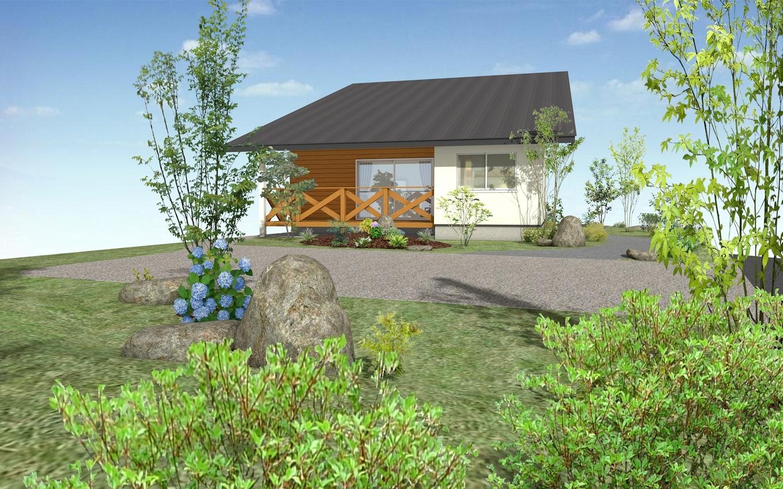 巧光建設【北杜市大泉町西井出8240-690・モデルハウス】土地の形状を活用した庭は同社のガーデニング部門が担当