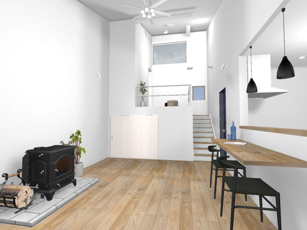 巧光建設【北杜市大泉町西井出8240-690・モデルハウス】薪ストーブはこの一台で温かくおうちをすっぽりと温めてくれる