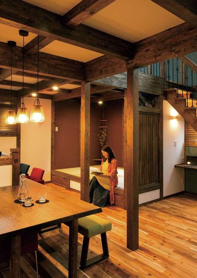 サイエンスホーム甲府店・笛吹店【デザイン住宅、趣味、自然素材】小上がりの和室はベンチ代わりにもなる