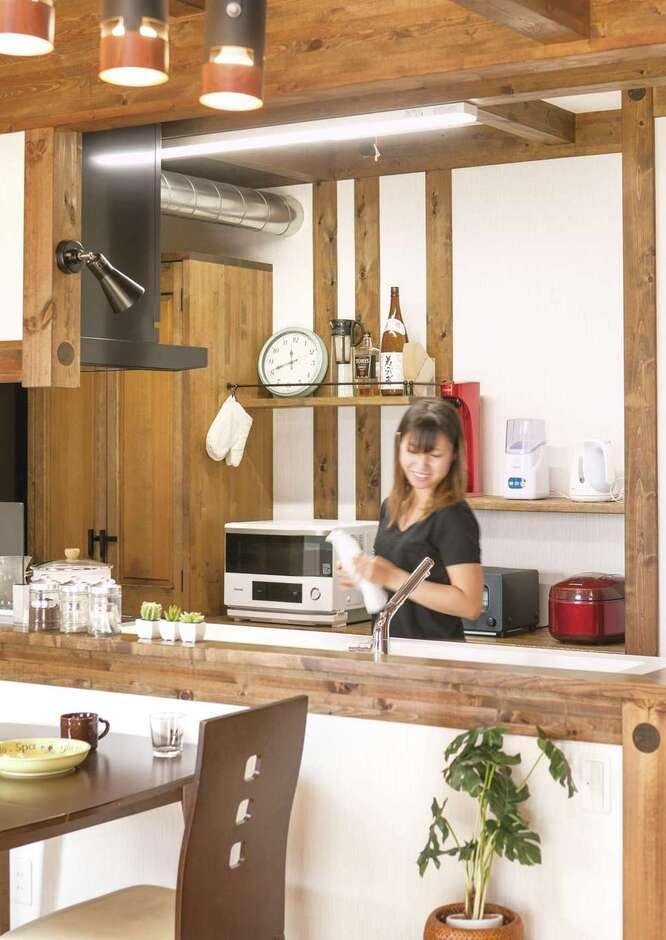 サイエンスホーム甲府店・笛吹店【デザイン住宅、自然素材、間取り】奥さまの夢を叶えたカフェスタイルのキッチン