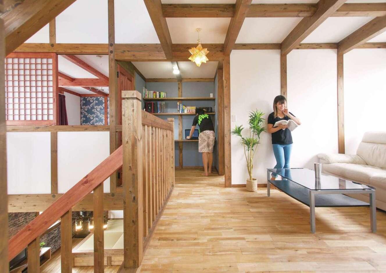サイエンスホーム甲府店・笛吹店【デザイン住宅、自然素材、間取り】2階のフリースペースは、セカンドリビングとして多用途に使える