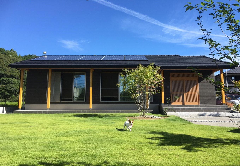 子育て安心住宅【1000万円台、和風、平屋】軒を深く出しどっしりとした構えの外観。屋根には太陽光発電パネルを搭載しているが、4.2kWでZEH基準の暮らしを叶えているという。広い庭を愛犬が走り回る、こんな日常のひとコマにも幸せを感じるそう