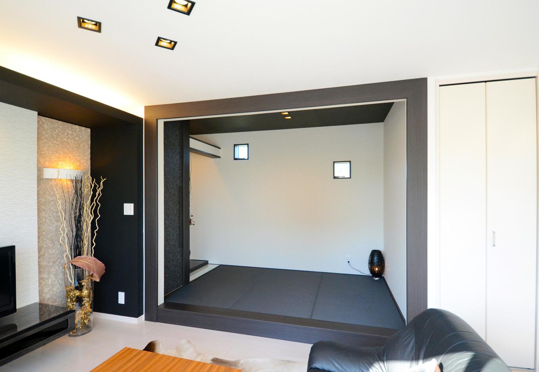 ティアラホームスタイル【1000万円台、デザイン住宅、間取り】タタミコーナーはモダンなおもてなし空間とし、リゾート感溢れるラグジュアリーなスペースを創造