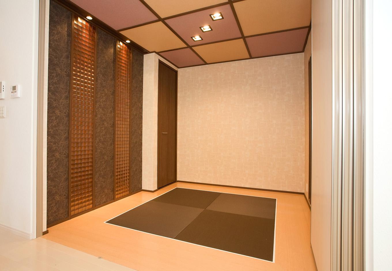 ティアラホームスタイル【1000万円台、デザイン住宅、間取り】和室は、タタミコーナーとしてお泊りに来たお客様のために独立した和室にと二種類の使い方が出来る