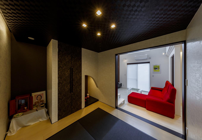 ティアラホームスタイル【1000万円台、デザイン住宅、省エネ】間接照明が灯る、美しい和モダンの畳コーナー