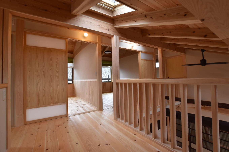 戸田工務店【和風、自然素材、間取り】2階には吹き抜けを囲むように子ども部屋と主寝室、納戸を配置。手すりの手前にはフリースペースがある。天井にはトップライトを設け、広い空間に明るさを補った