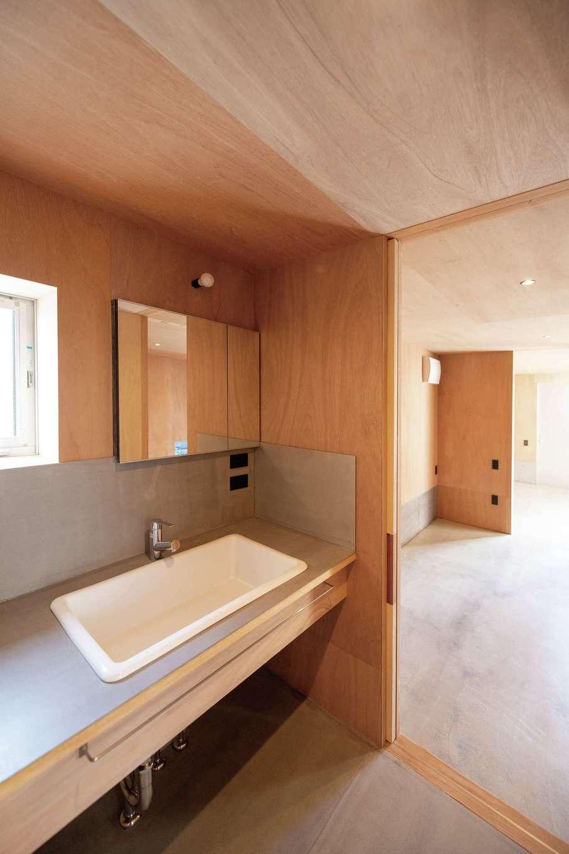 建杜 KENT(大栄工業)【デザイン住宅、狭小住宅、建築家】造作の洗面。ボウルの深さがあり便利