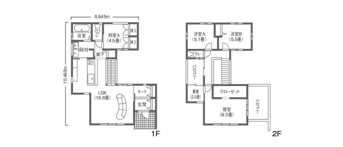 吉川住建 バーのような空間でおしゃれに暮らすBlack&Whiteの家 開放感のある吹抜けのお家