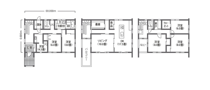 吉川住建 モノトーンの無機質なデザインが冴える3階建て・二世帯住宅 3階建て・二世帯住宅