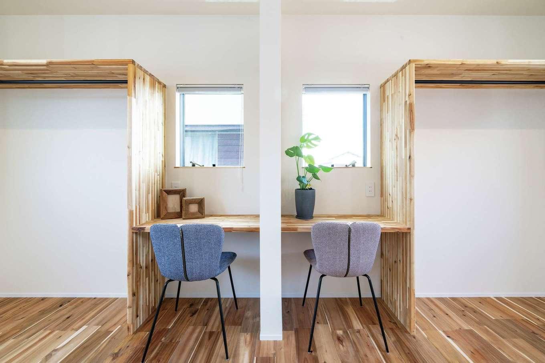 住家 ~JYU-KA~【デザイン住宅、ペット、建築家】成長に応じて間仕切りできる将来の子ども部屋。造作家具のシンメトリーなデザインがかわいい♪