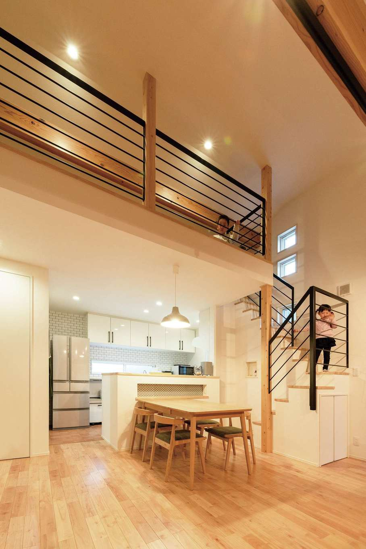 R+house沼津・伊東(HOUSE PLAN)【子育て、間取り、平屋】階段付きのロフトはプレイスペースに。子どもが巣立ったら納戸として活用する予定