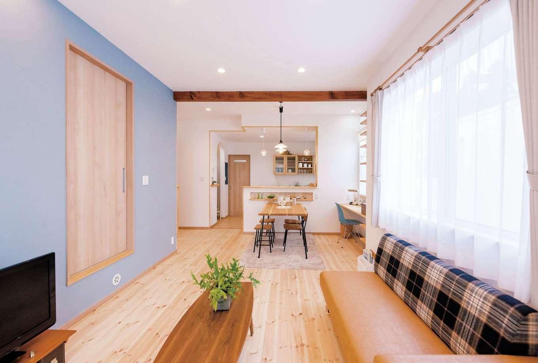 Art Wood Home (永建)【省エネ、収納力、インテリア】ブルーの部分も珪藻土の塗り壁
