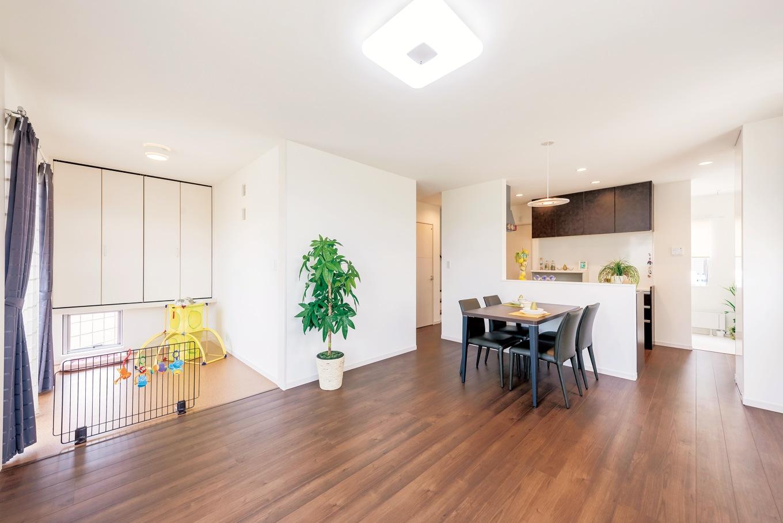 住起産業【収納力、間取り、ペット】「のびのび間」はリビングの横にあるペットスペース。床は畳に変更が可能
