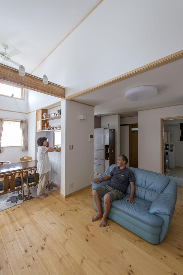 イーホーム【収納力、二世帯住宅、スキップフロア】採光と採風を特にこだわった1FLDK。自然素材が多いからお孫さんが遊びにきても安心