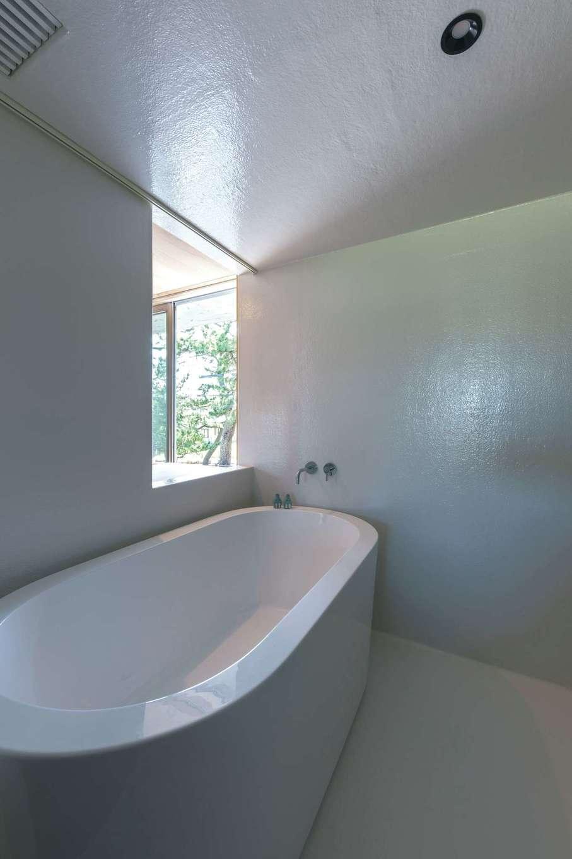 建杜 KENT(大栄工業)【デザイン住宅、建築家、インテリア】浴室は、防水加工をした空間にリゾートホテルのようなバスタブを。窓の向こうは寝室