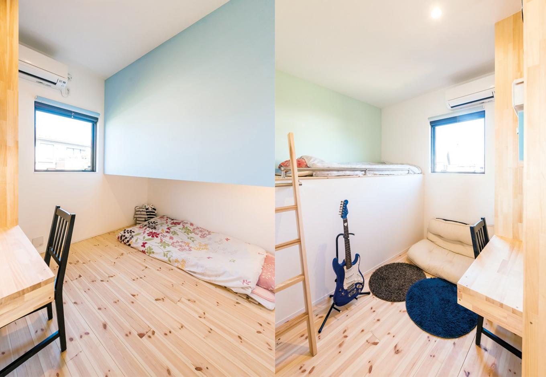 建杜 KENT(大栄工業)【デザイン住宅、自然素材、建築家】4つある子ども部屋のうち真ん中の2つは、ベッドを上下でスペースを分けて造作し空間を有効活用