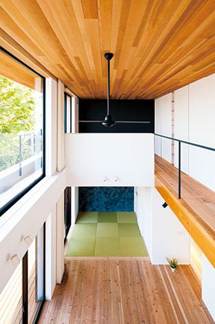 建杜 KENT(大栄工業)【デザイン住宅、自然素材、建築家】大らかな空間ながら、色合いや素材感による落ち着きも計算されている。天井のレッドシダーはそのま まベランダの軒にも続けて張られ、内と外の一体感を演出する