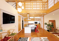 京都の町屋をイメージした無垢×北欧家具の新和風住宅