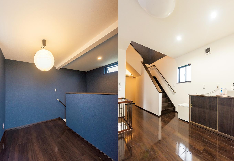 寝室には屋上へと繋がる階段が。ペントハウスはカウンターを設置してバーにする予定で、寝室にミニシンクも設えた