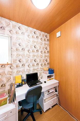 irohaco (アヴァンス)【1000万円台、子育て、狭小住宅】コンパクトながら書斎がある。お子さまが手を出しがちな書類の用意も、落ち着いて取り組める