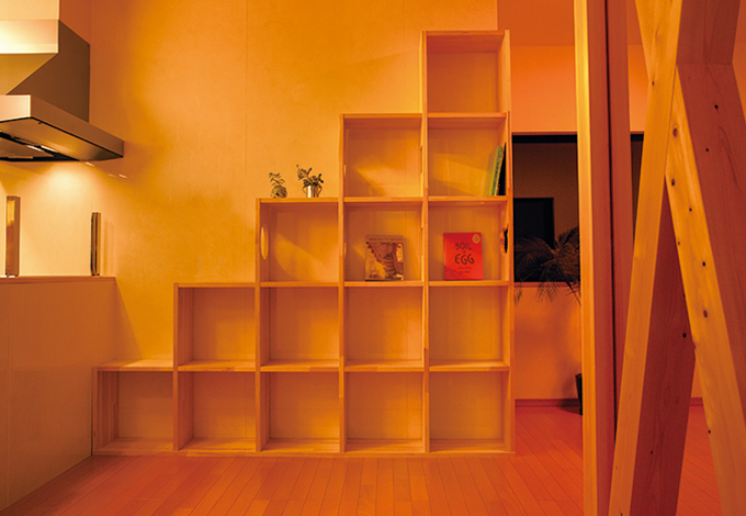 隆勝工務店【デザイン住宅、間取り、ペット】造作の書棚は、ネコたちのジャングルジムにもなっている。横板をネコの顔型にくり抜いたり、遊び心を活かした職人技に感動!
