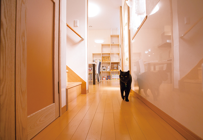 隆勝工務店【デザイン住宅、間取り、ペット】腰板は猿田さんのアイデアで、爪傷が付きにくく、 手入れも楽なキッチンパネルを採用