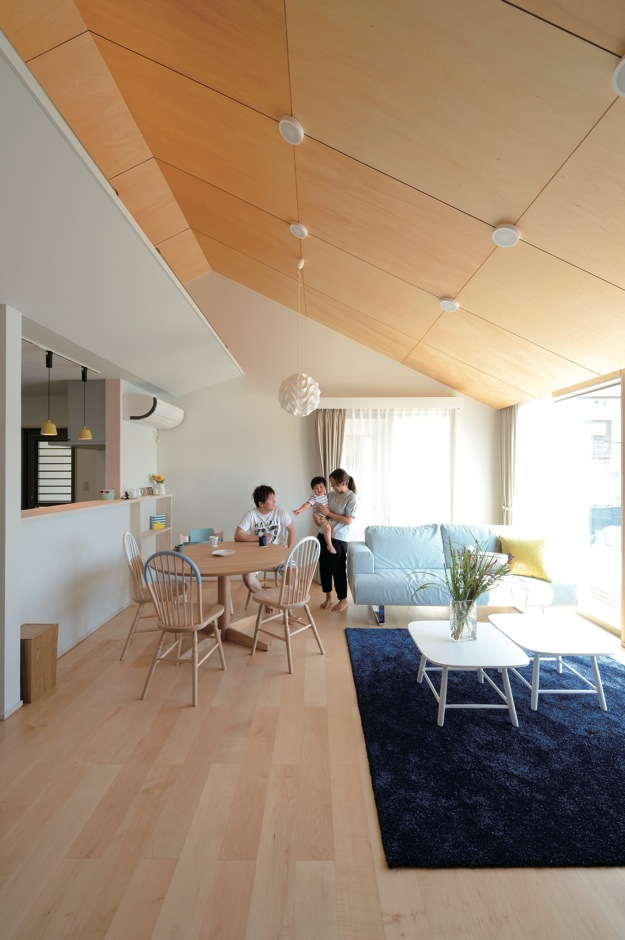 フジホーム【デザイン住宅、間取り、平屋】勾配天井と2面採光により、目線がタテ・ヨコに伸びるLDK。家具と照明は北欧テイストでコーディネート。インナーガレージからも出入りできる