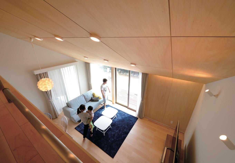 フジホーム【デザイン住宅、間取り、平屋】ロフトからリビングを見下ろす
