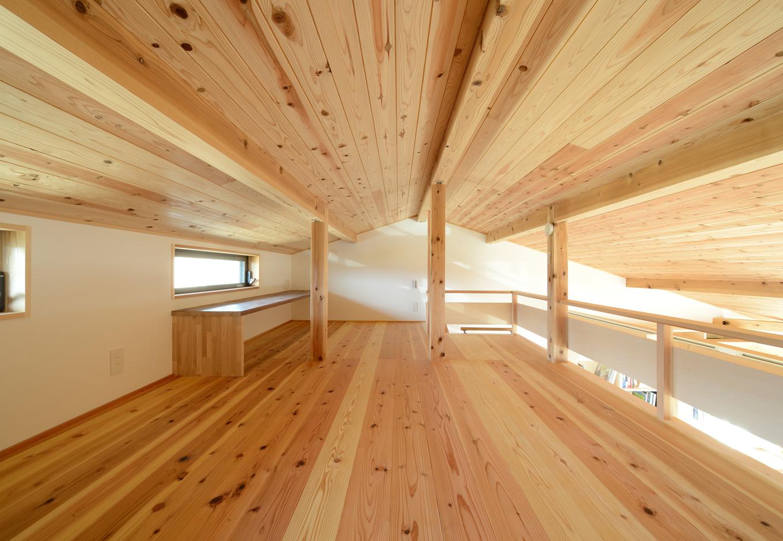 あだちの家。足立建築【収納力、省エネ、間取り】2階のロフトは天井・床ともに杉板張り。採光や通風を考慮して窓を配置