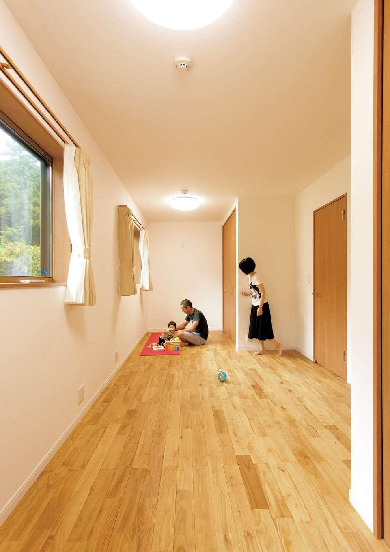コバケンホーム(小林建設)【子育て、自然素材、間取り】子ども部屋は約9畳の広さ。後々は仕切って使う予定