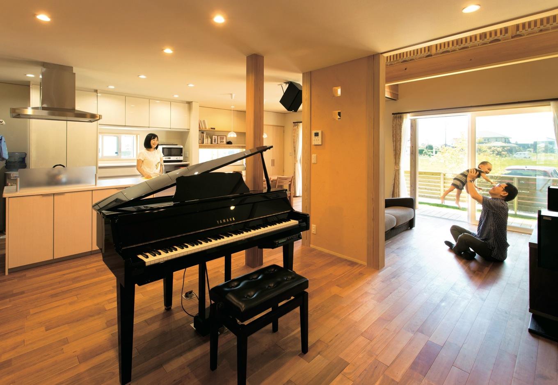 音楽のある暮らしを楽しみ 家族のつながりを感じる家