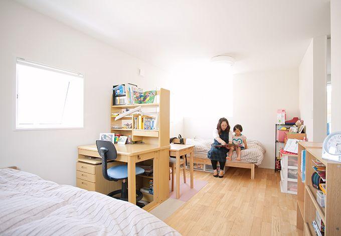 無印良品の家(インフィルプラス)【デザイン住宅、省エネ、間取り】家族の成長に合わせて可変するフリースペース。今は兄妹の部屋に