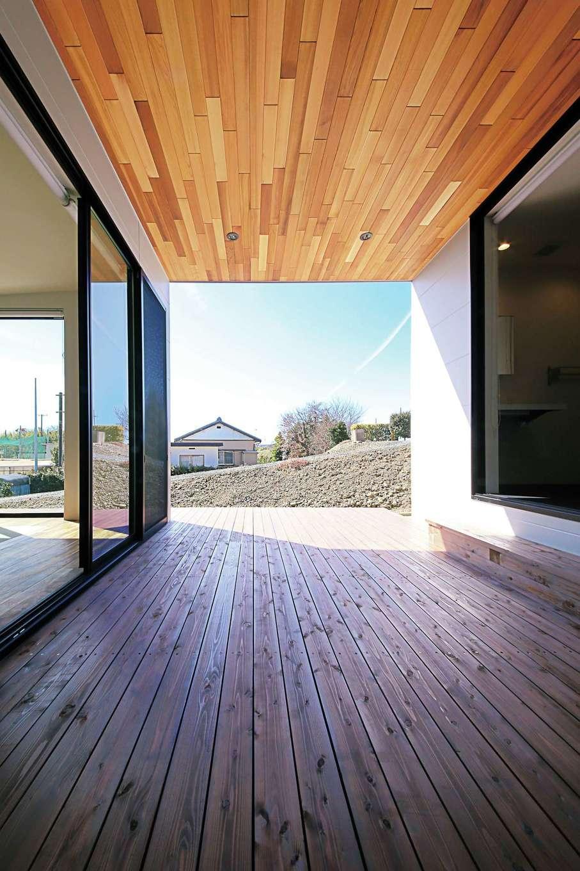 屋根付きのウッドデッキはLDKと洗面室の両方から出入り可能。セカンドリビングとしても活躍しそう