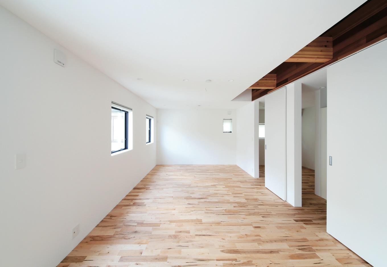 インフィルプラス【デザイン住宅、収納力、間取り】2階の洋室は最大で3部屋に分割可能。廊下となりうるスペースは狭くならないようにあらかじめ吹抜けにしてある