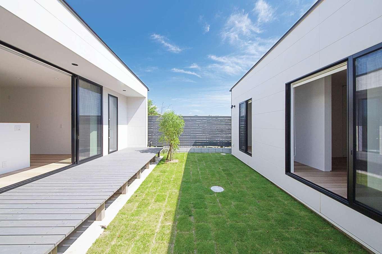 インフィルプラス【デザイン住宅、建築家、インテリア】LDKから洗面・脱衣室に至るまでデッキを設置。芝生の庭も充分な広さを確保。「庭が縦長なのでコートとしても役立ち、バドミントンや風船バレーなども楽しめます」とご主人