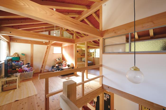 石牧建築【子育て、和風、自然素材】2階は子どもの成長に合わせて間仕切る