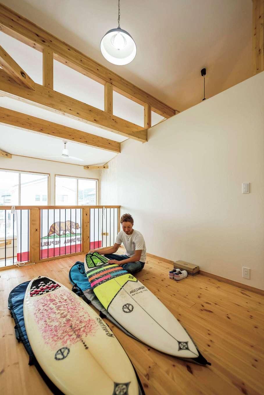 リビングと2階の個室をつなぐロフトスペース。しばらくはご主人が趣味を楽しむ空間に