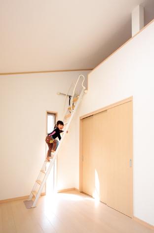 水田建設【収納力、省エネ、間取り】広いロフト付きの子ども部屋 2つの子ども部屋それぞれに ゆったりサイズのロフトを設 置。収納はもちろん、子どもの 好奇心をくすぐる秘密基地に もなる。