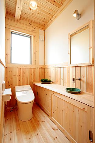ハンドメイド【1000万円台、デザイン住宅、自然素材】トイレにもあしらった自然素材が温もり感を醸し出す