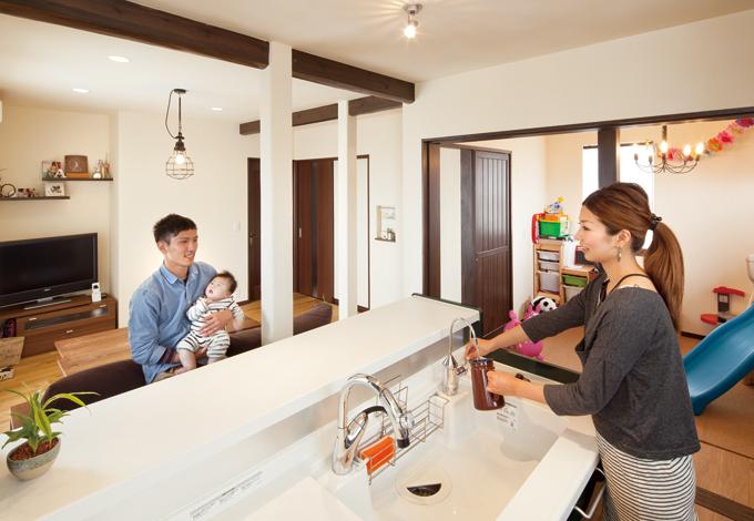 花みずき工房|新たに設置したキッチンなら家族の姿がいつでも見える
