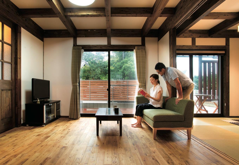 サイエンスホーム【1000万円台、子育て、間取り】高級旅館のような落ち着きを感じる真壁づくりのリビング