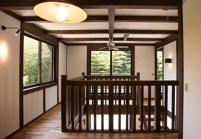 サイエンスホーム【1000万円台、デザイン住宅、狭小住宅】吹き抜けにシーリングファンを備え、 家中の空気を循環させることで空 調効率をアップ