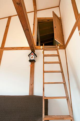 サイエンスホーム【1000万円台、子育て、ペット】2階フリースペースからはしごでつながる小屋裏収納。まるで秘密基地へ通じるルートのようだ