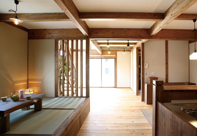 サイエンスホーム【1000万円台、輸入住宅、自然素材】柱や梁をむき出しにした「真壁工法」で空間に自然素材があふれている