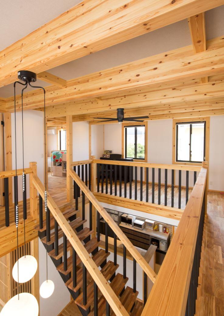 サイエンスホーム【浜松市浜北区西美薗652-2・モデルハウス】外張り断熱の効果で、吹抜けがあっても家の中に温度差が発生しにくい