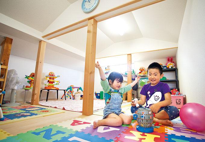 寿建設【収納力、和風、二世帯住宅】今は子どもたちのおもちゃを収納しているが、将来的にはご主人のホビールームになる可能性も