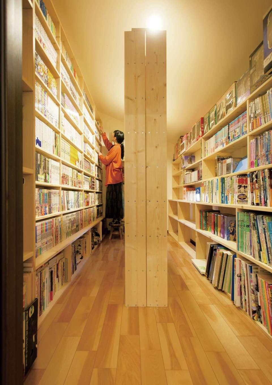 かなめ創建【趣味、狭小住宅、インテリア】書庫にぴったりの書棚は、奥さまのお父さまによる手作り